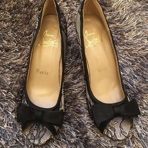 Louboutin lace open toe pumps. Good condition.